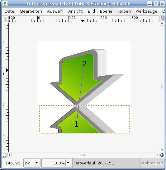 Создаем градиент при помощи соответствующего инструмента Gimp