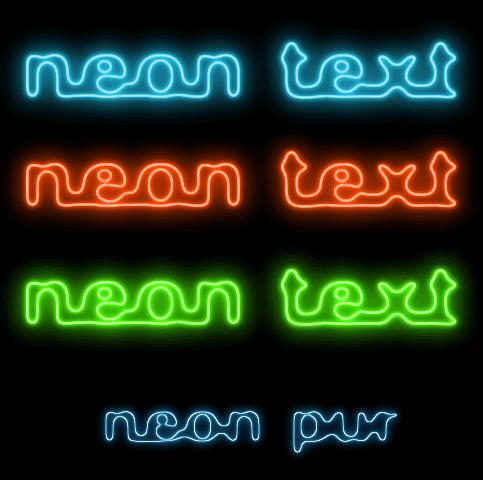 Результирующий неоновый текст, полученный с использованием инструментов Gimp