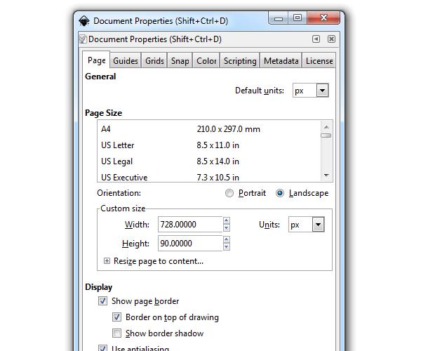 Окно свойств документа в Inkscape (задаем размер документа)