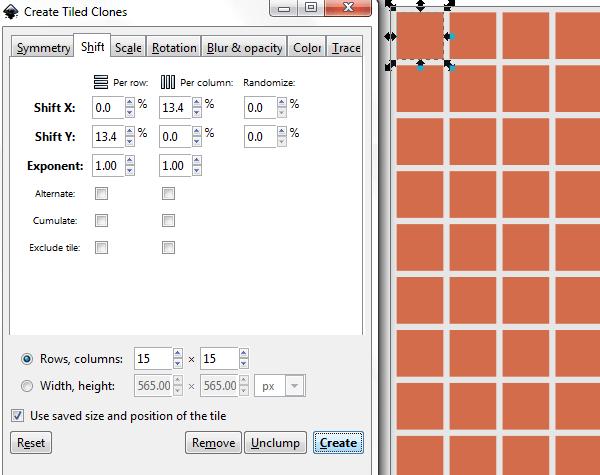 Параметры мозаики из клонов в Inkscape
