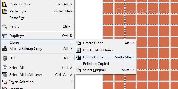 Отвязка клонов в Inkscape