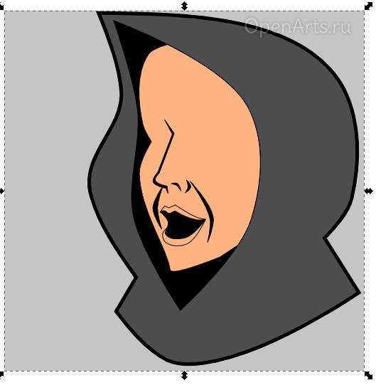 Прорисовка носа и рта в Inkscape
