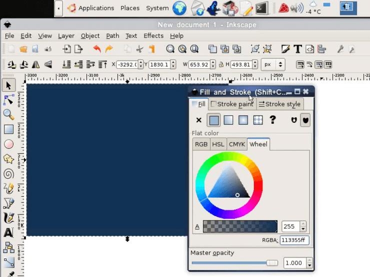 Создаем в Inkscape прямоугольную подложку для шара