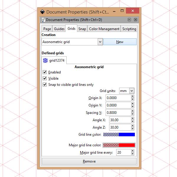 Свойства документа в Inkscape - аксонометрическая сетка