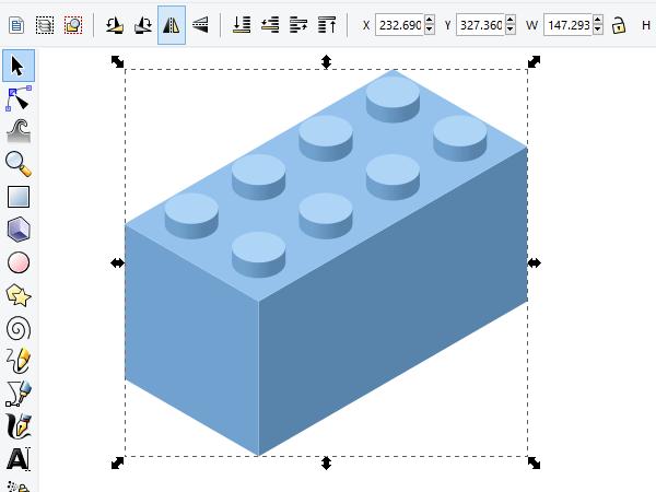 Группировка и отражение кирпичика Лего в Inkscape