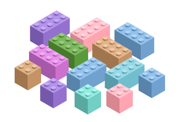 Раскрашивание блоков Lego в разные цвета