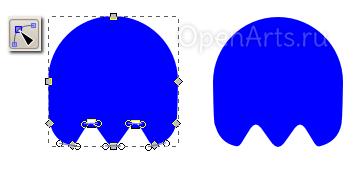 Вертикальное перемещение узлов в Inkscape