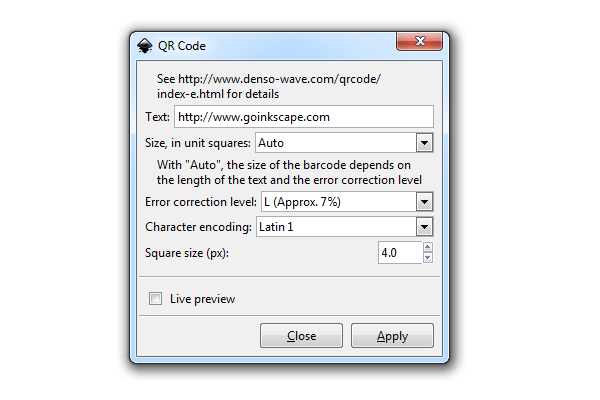 Встроенный в Inkscape генератор QR-кодов
