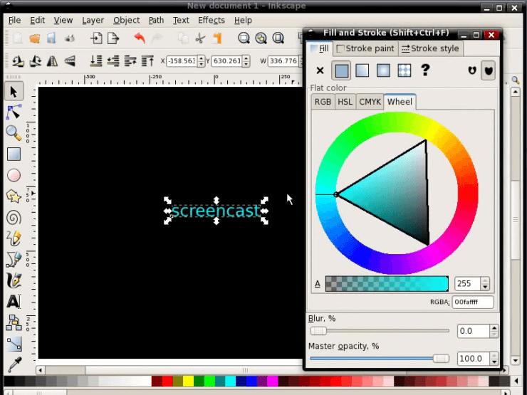 Создание текста в Inkscape