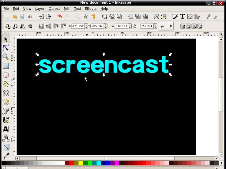 Смена шрифта и размера текста в Inkscape