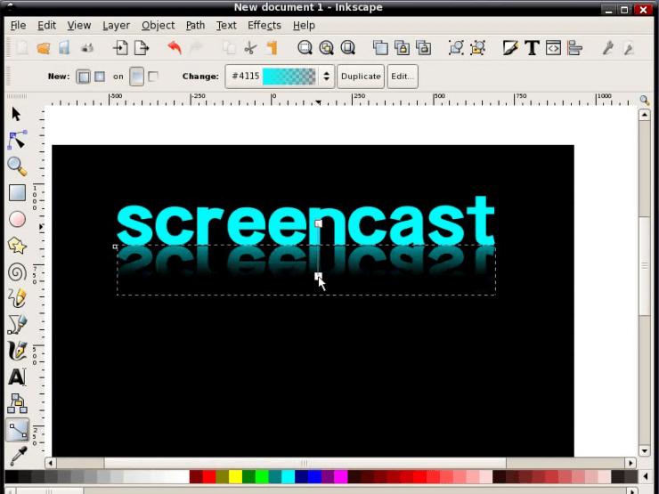 Создание постепнного затухания отражения в Inkscape при помощи градиента