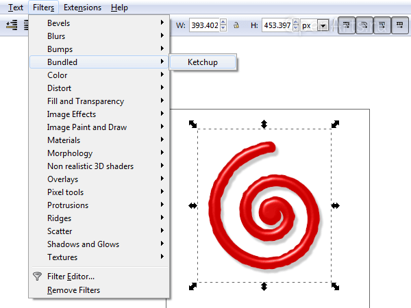 Пользовательский фильтр в меню Inkscape