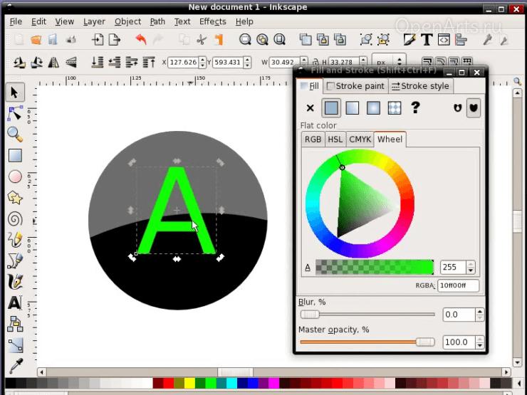 Создание буквы для кнопки в Inkscape