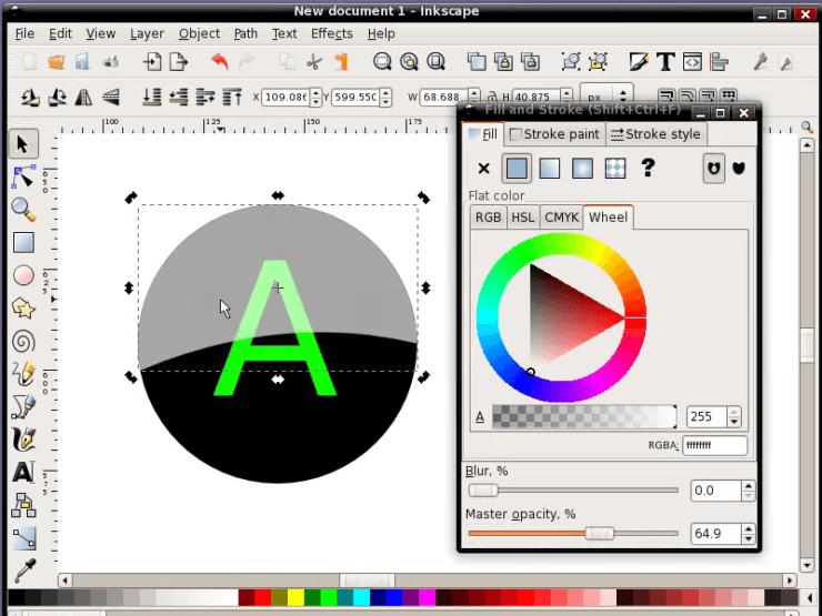 Перемещение объекта поверх буквы в Inkscape