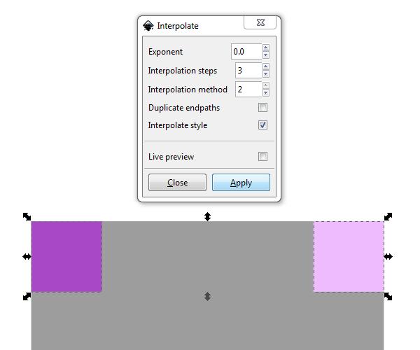 Диалог интерполяции в Inkscape