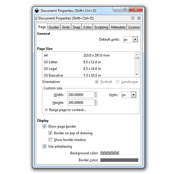 Размер холста в диалоге свойств документа в Inkscape