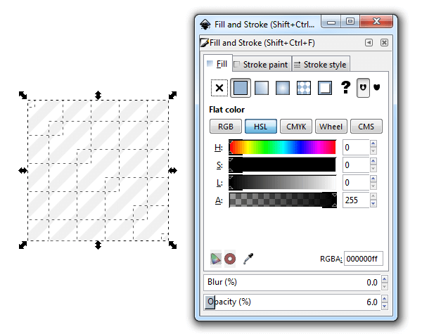 Удаление обводки и создание заливки в Inkscape