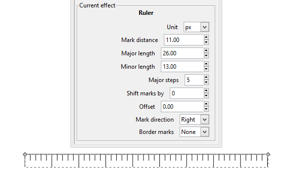 Параметры контурного эффекта линейка в Inkscape