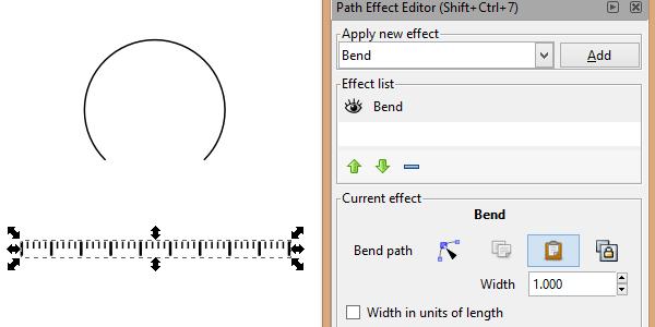 Контурный эффект изгиб в Inkscape