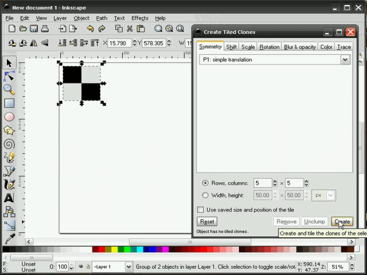 Диалог создания узора из клонов в Inkscape, вкладка Симметрия