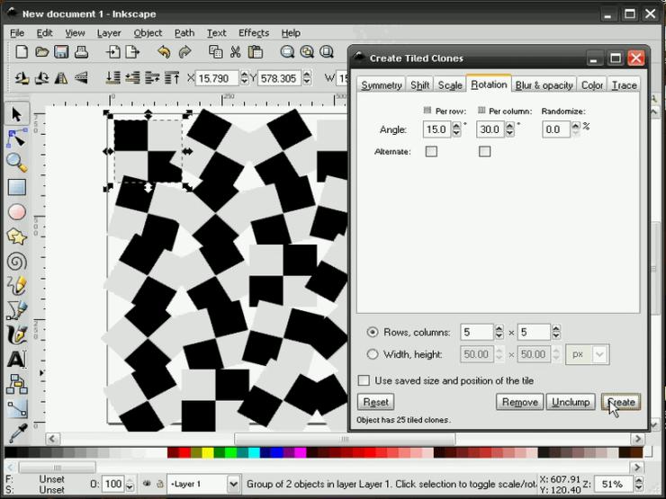 Диалог создания узора из клонов в Inkscape, вкладка Поворот