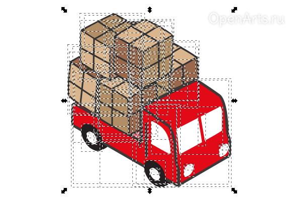 Разгруппировка и пикселизация в Inkscape