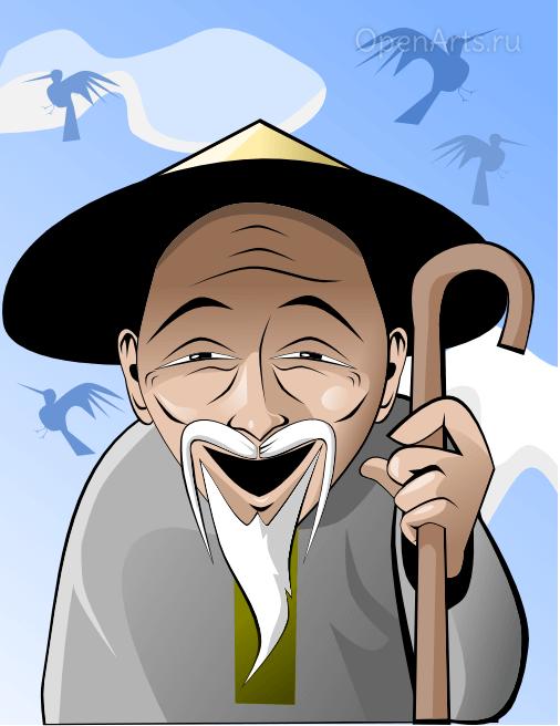 Финальное изображение старичка, выполненное в Inkscape